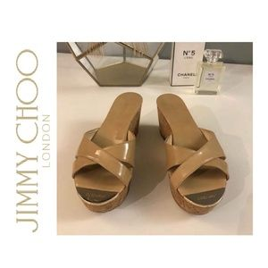 Jimmy Choo Prima Patent Leather Cork Wedges